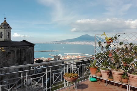 Terrace looking at the Vesuvius