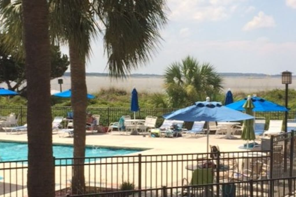 Our beautiful pool sits directly on Tybee's north beach