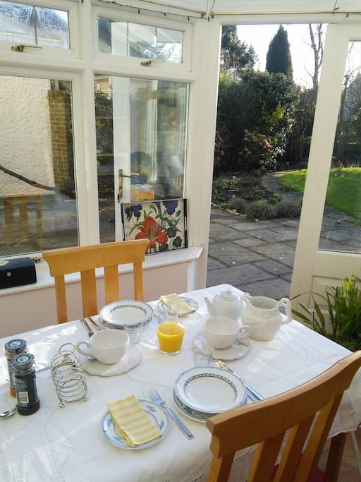 Continental or cooked breakfast in the conservatory overlooking the garden