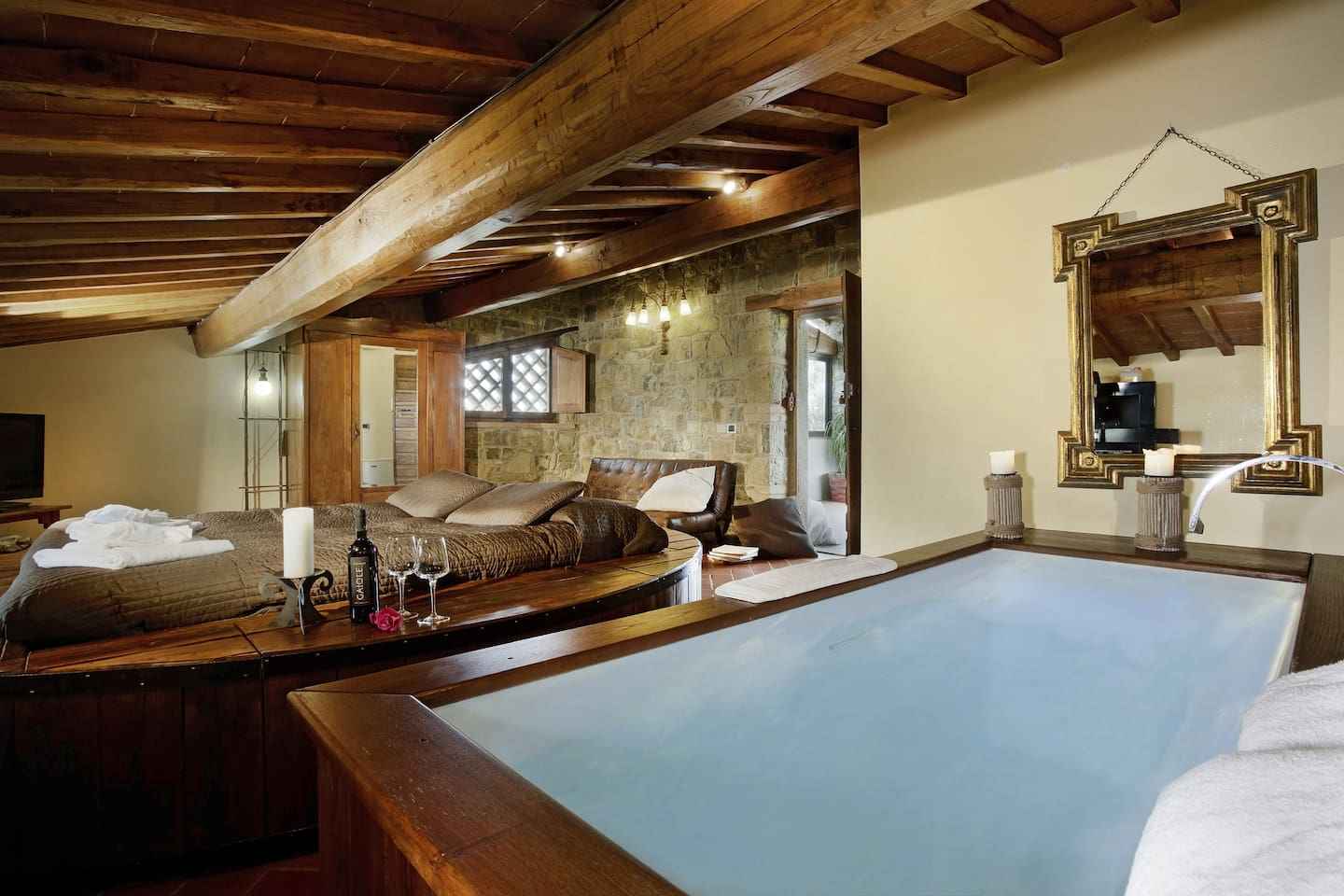 the bathtub in the bedroom