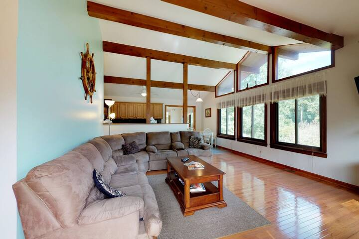 Dog-friendly & lakefront home w/boat slip, pedal boats & fireplace