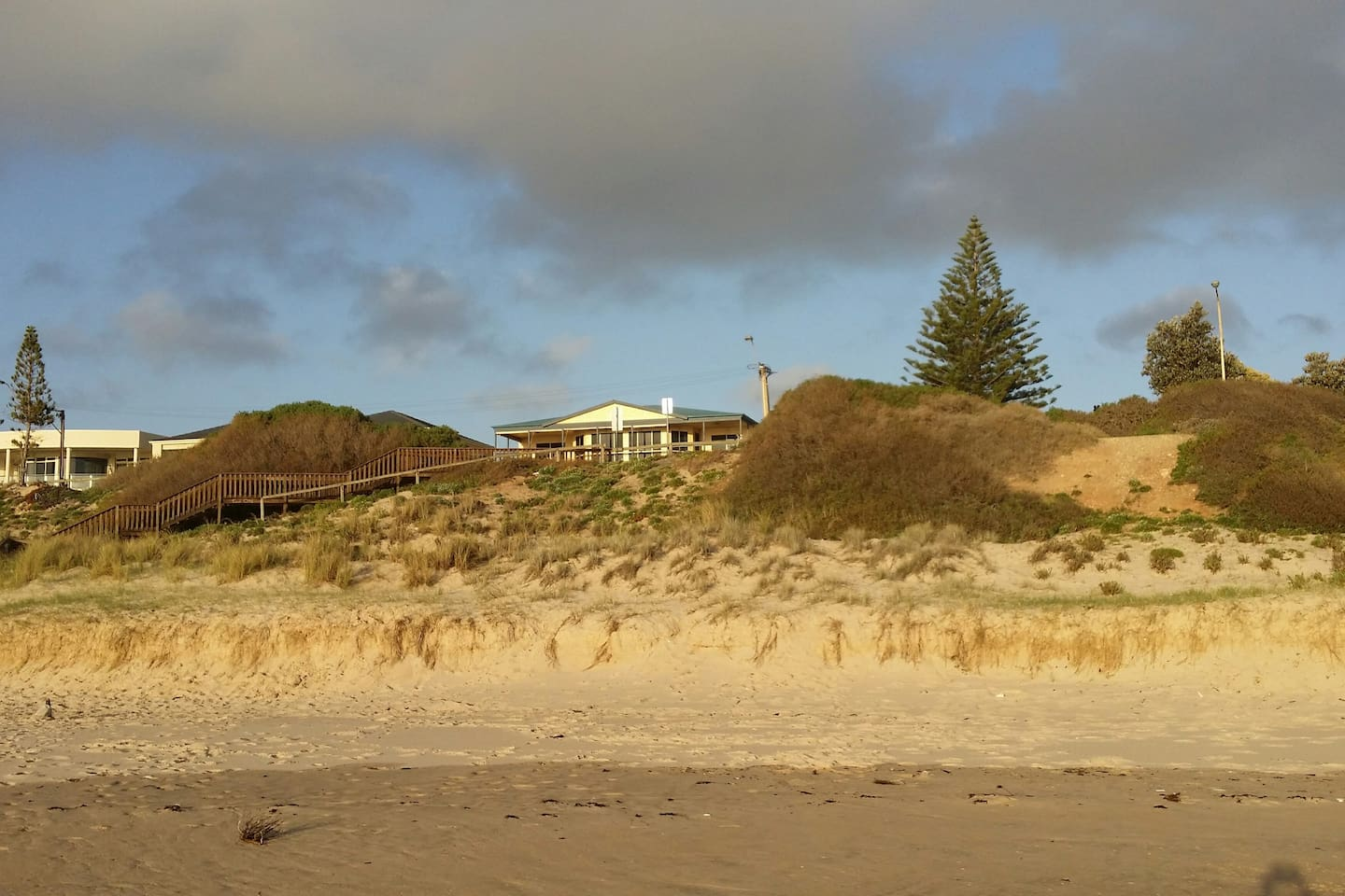 Looking at the accommodation from the beach