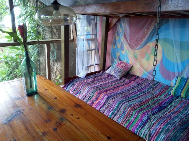 The chill area of the treehouse now also has a bunk bed for extra guests and a single bed.