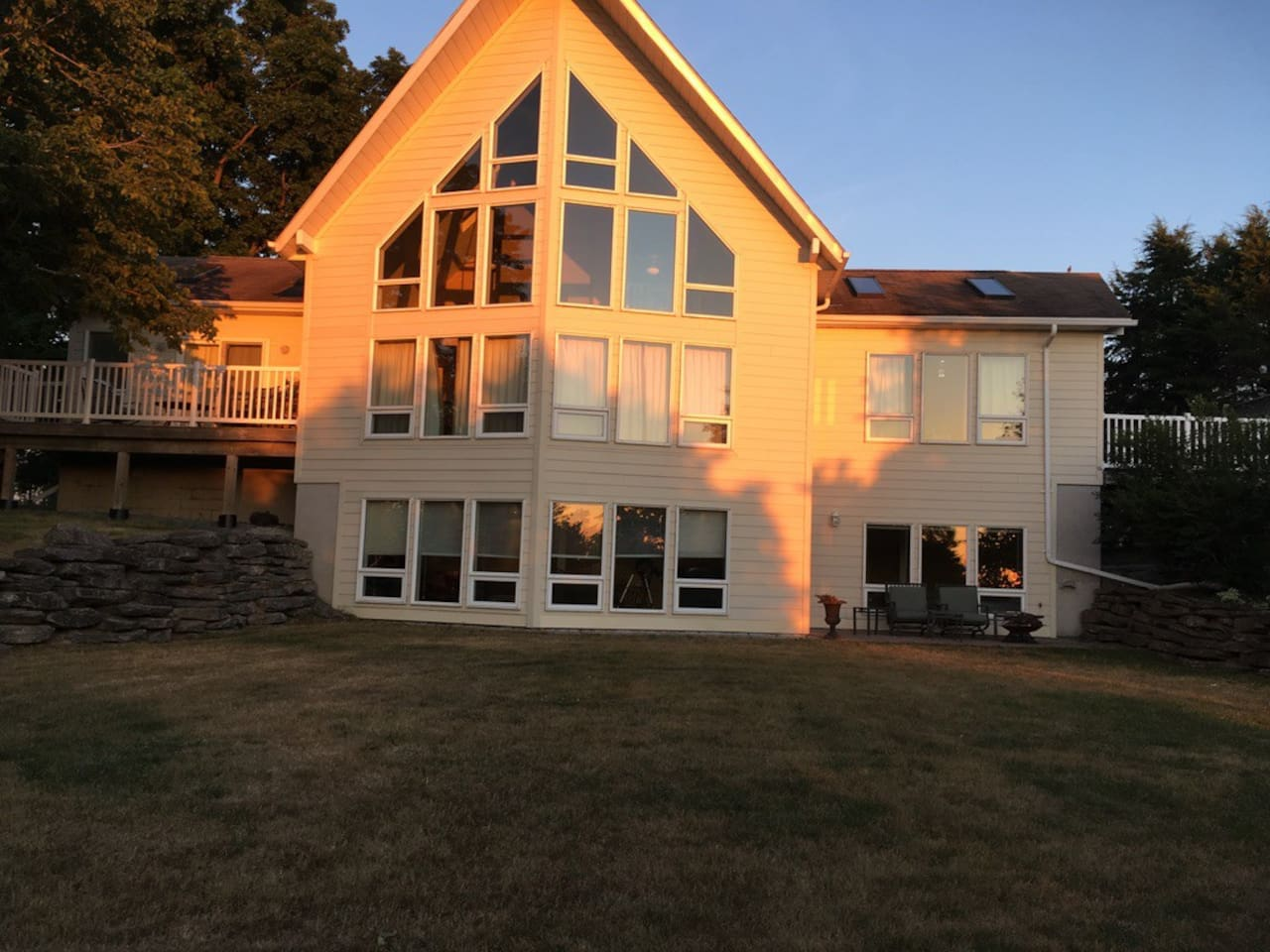 This is a Vicroy home with the Airbnb in the lower level of the house. There is a private entrance off the patio and the view is of the Bay of Quinte. There is 165 feet of waterfront which is yours to access.