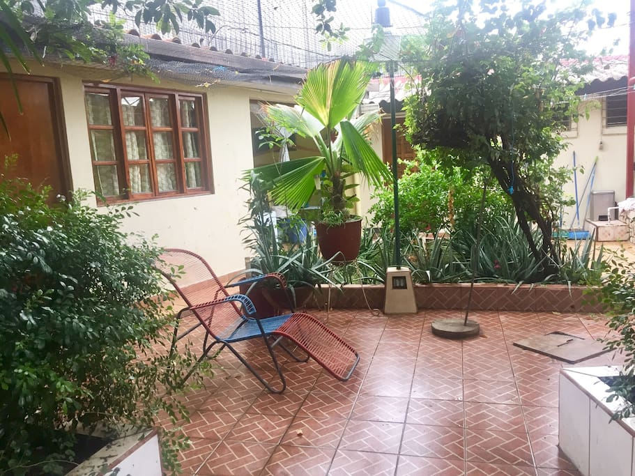 Nice little terrace in front of the rooms where you can enjoy complimentary cookies and coffee for breakfast!