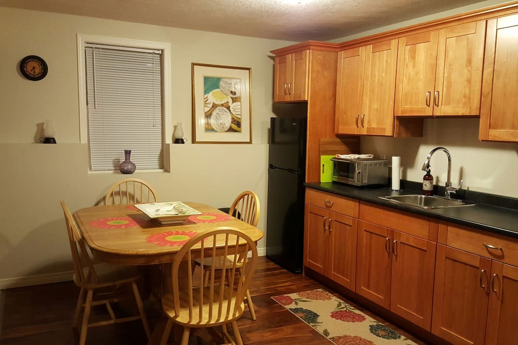 Private Kitchenette with cooking appliances.