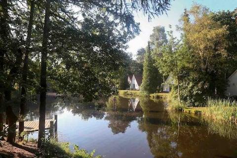 Chalet in Vledder aan visvijver op camping Adelhof