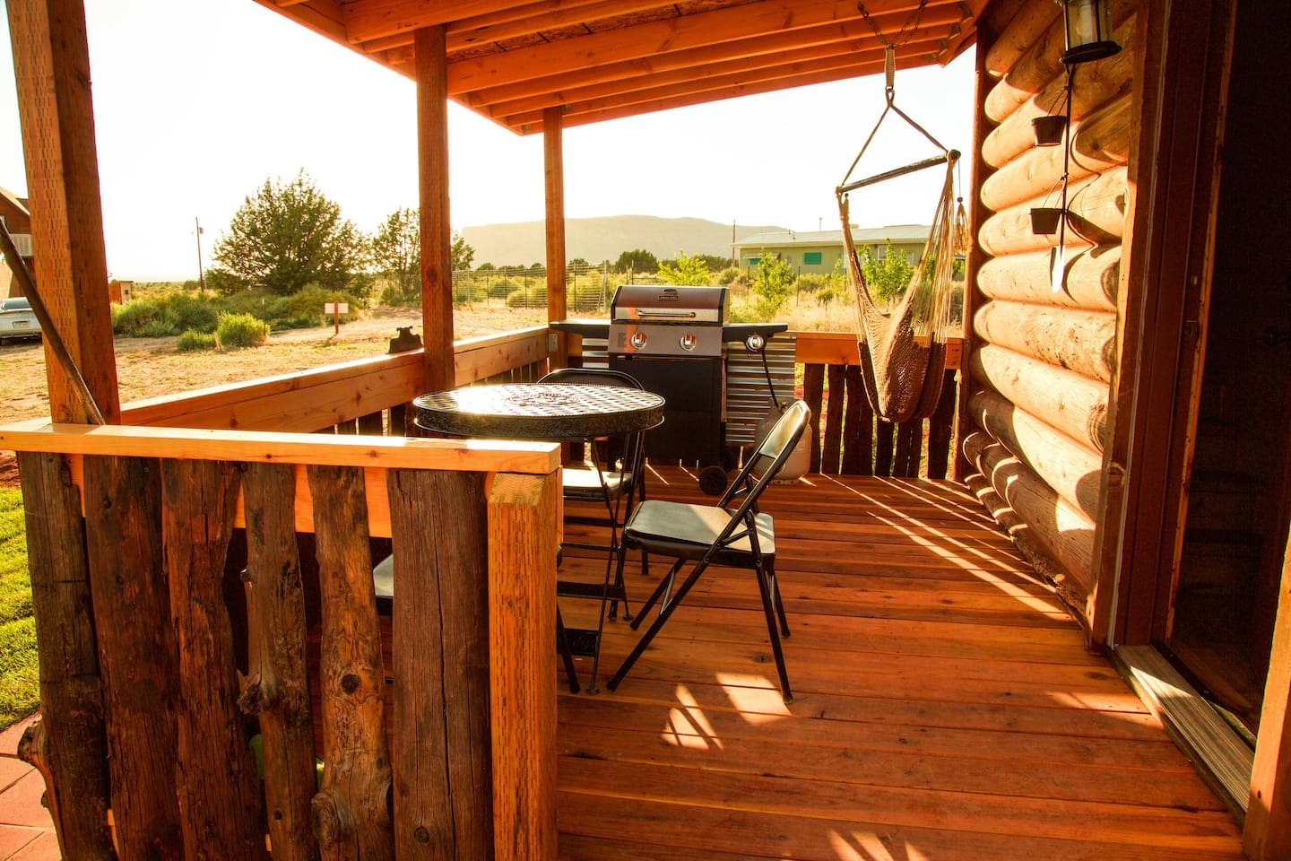 Great deck with table & chairs, hammock swing and propane grill with side burner.