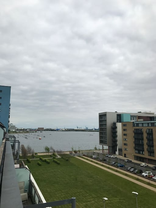 Full sized balcony with a view of Cardiff Bay