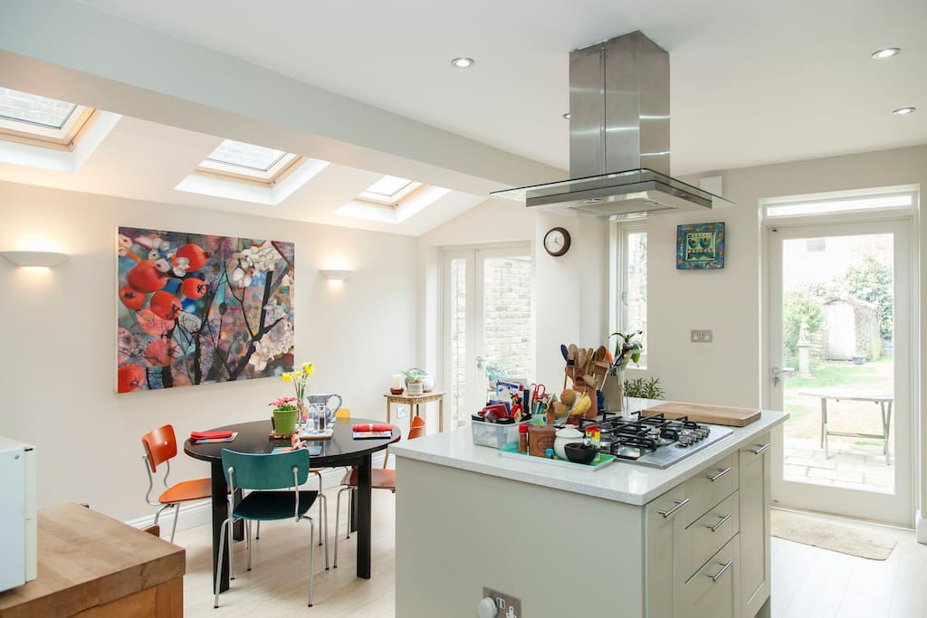 The kitchen is a modern extension and leads into the back garden