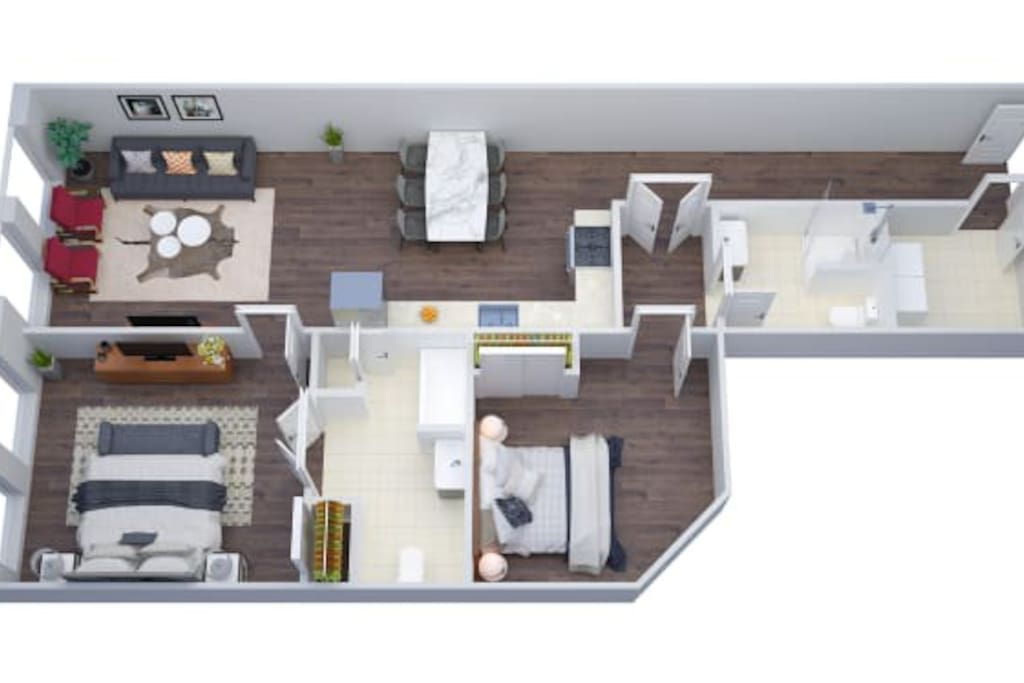 3D rendering of the apartment.