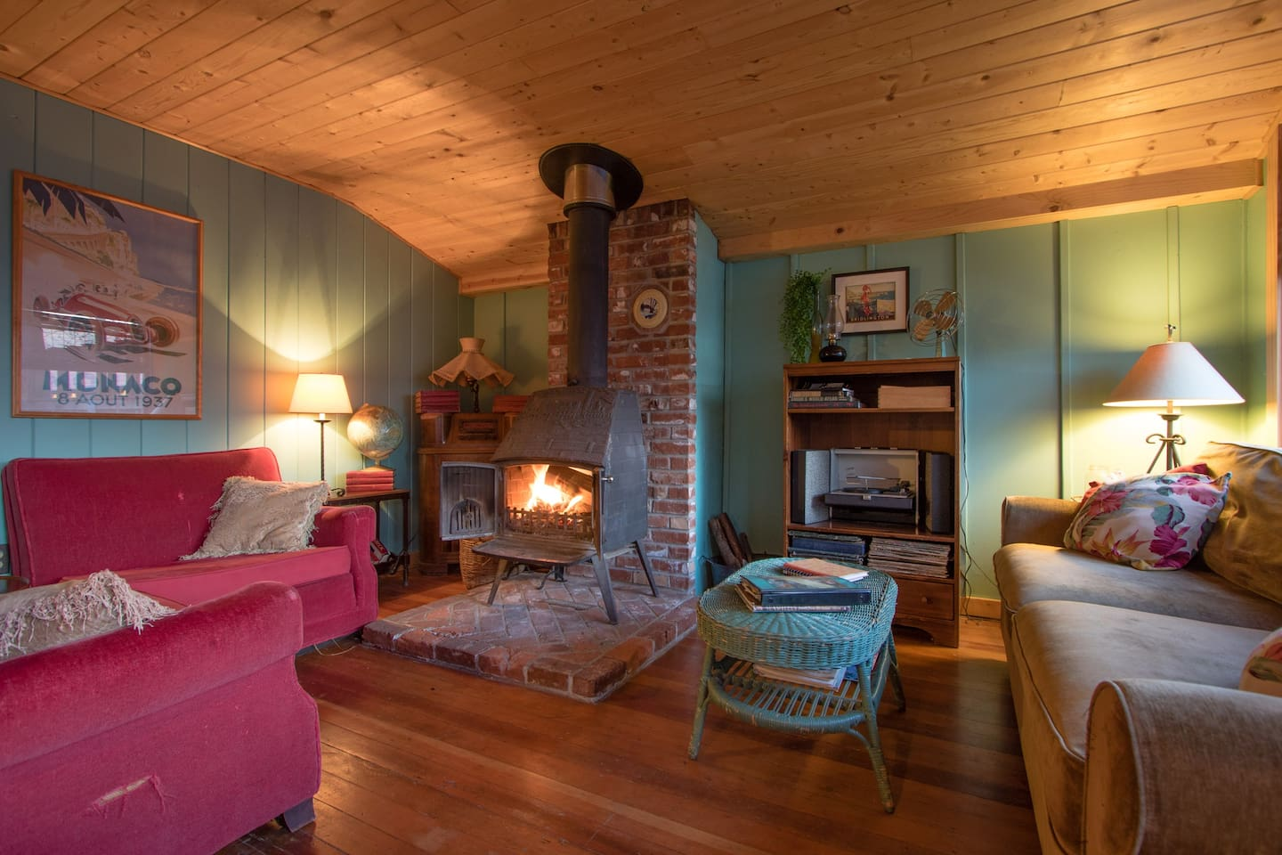 Cozy fireplace, bring plenty of wood or purchase at local market.