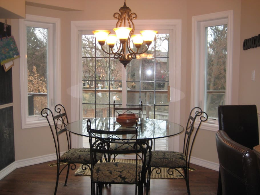 Kitchen nook with walk-out to upper deck/outer dining area.