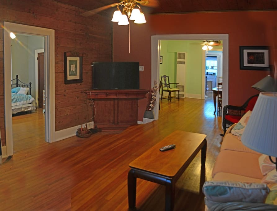 The house has the original straight grain hardwood floors.  Some ceiling expose the original shiplap. It is spacious and cozy .