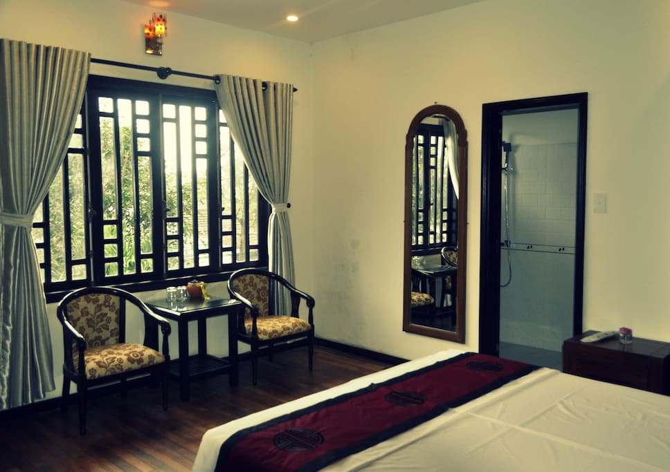 Deluxe double room with balcony and wooden floor