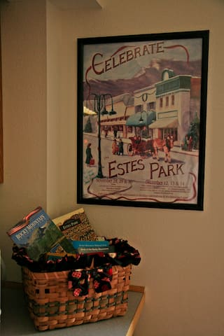 Estes Park - past and present.  Books on where to hike, history of Estes Park, places to go and things to see.  If you want to take a hike - see the notebook for all the great hiking trails in Estes Park.