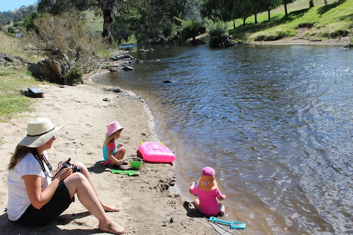 Fun with the kids at our private sandy beach