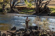 Go fly fishing in the 2 miles of river bordering the property