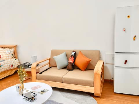 [Mountain Breeze Guest House] Kintetsu Shopping Mall/Golden Mountain Lake/Simple and Cozy Style/Small Balcony with Floor-to-ceiling Window/Cooking Allowed/Laundry Allowed/Ao Yuan New Residence