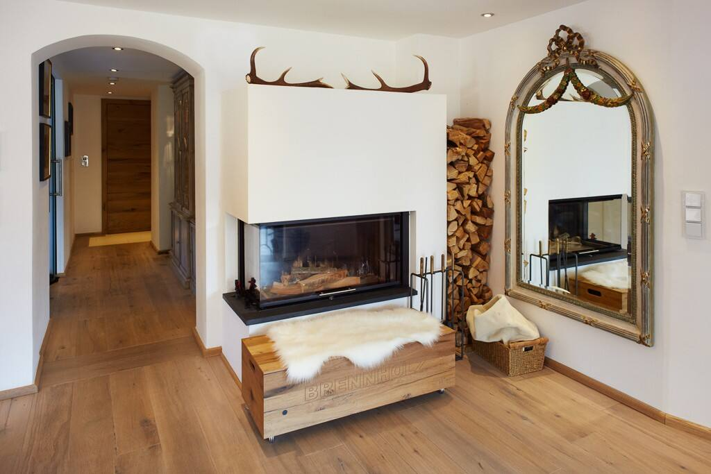 open fireplace - can be enjoyed from dining room and living room areas