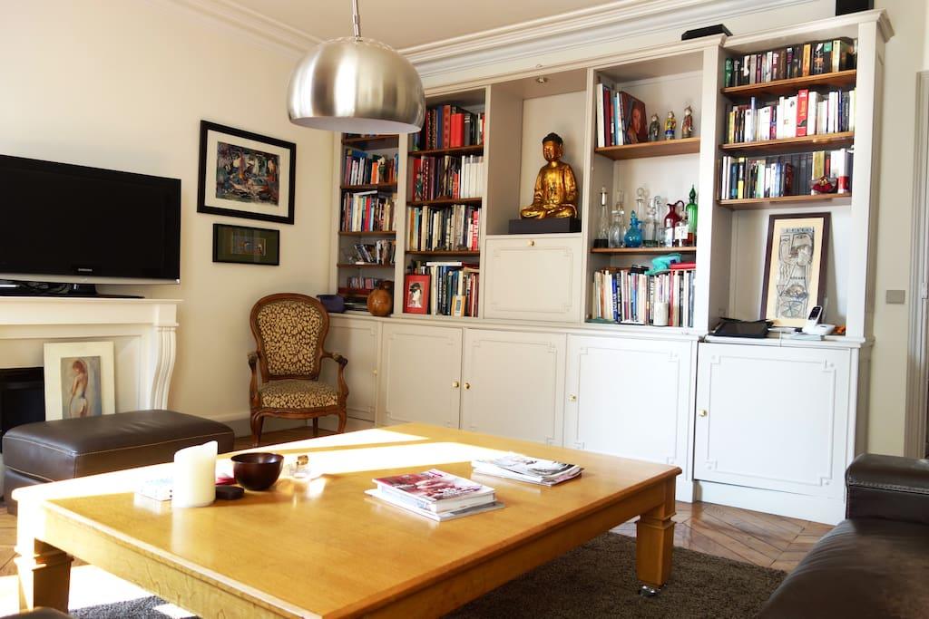 bibliothèque du salon