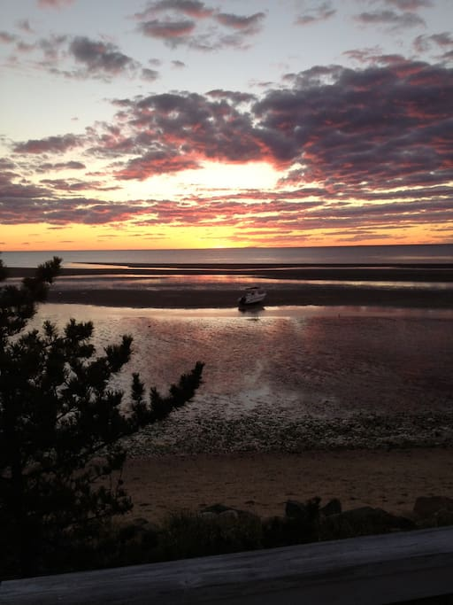 Sunset on Cape Cod Bay from the deck