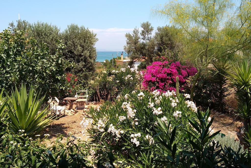 Xanthi's home Ο κήπος με θέα στη θάλασσα The garden with sea view