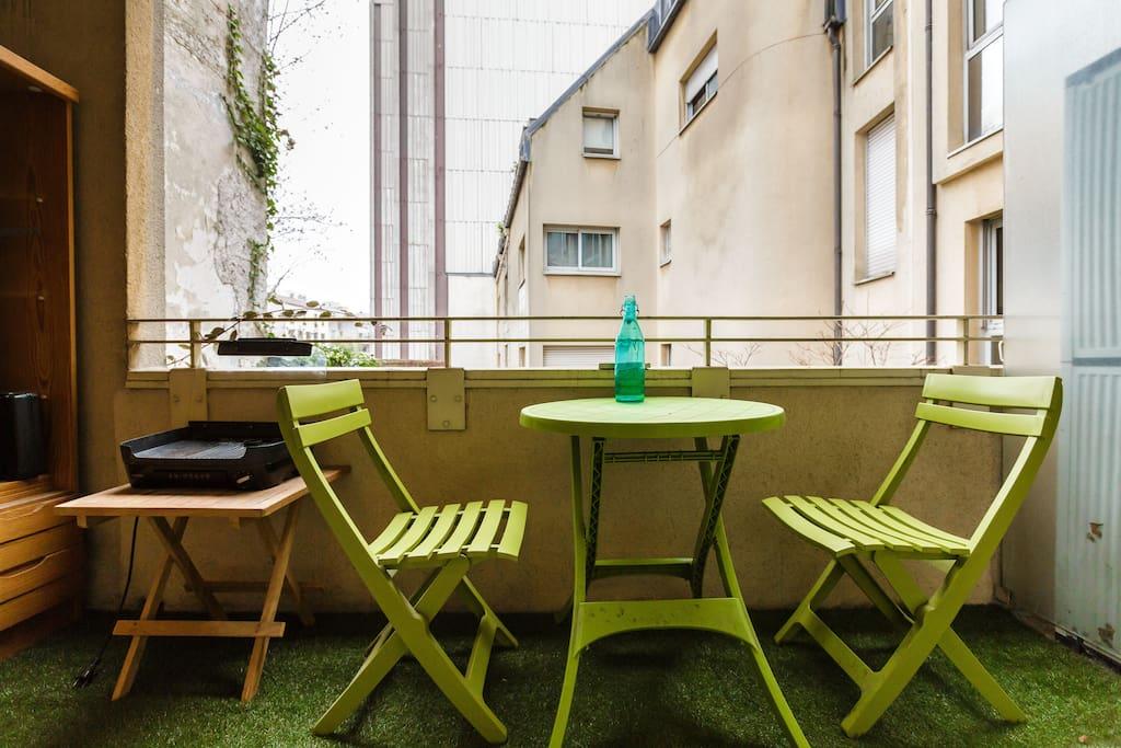 Terrasse privée avec plancha