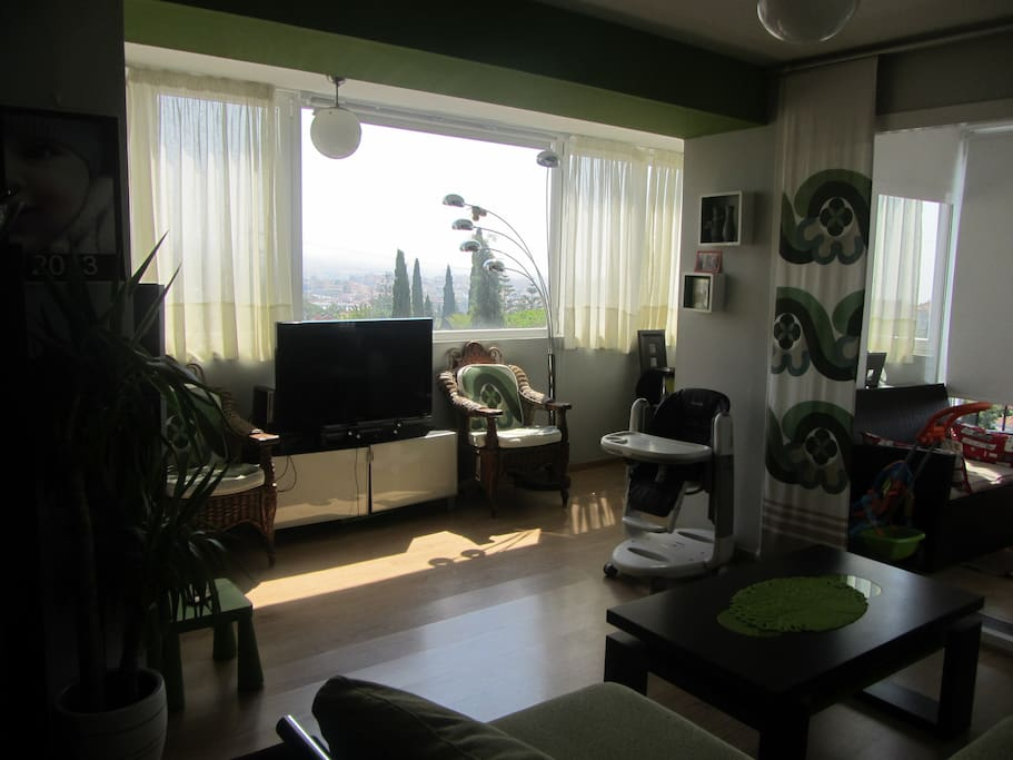 The living room is full of light and the views are amazing.