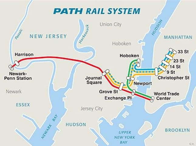 Path train Circuit Manhattan to Grove Street then to Newark
