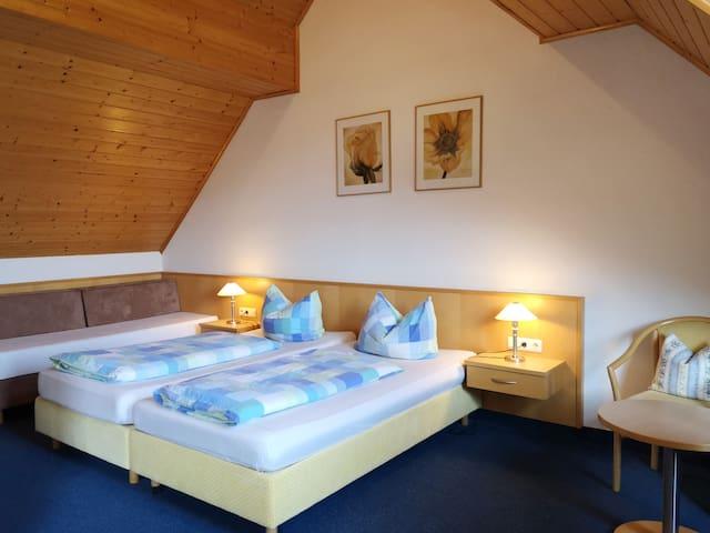 Gästehaus Martin (Werbach-Gamburg), Dreibettzimmer (33qm) mit Fernseher
