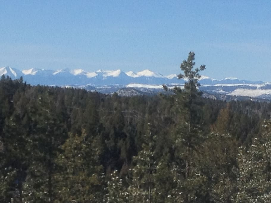 View to the South of the Sangre de Cristo mountain range from patio.
