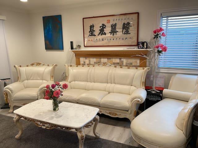 Clean cozy bedroom in a big house
