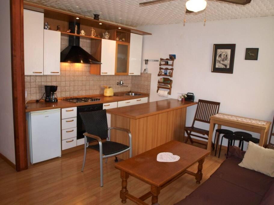 Comfort kitchen/living room. TV - dishwasher – microwave