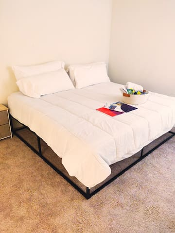 Very comfortable foam king size bed perfect for a good night's rest near our nation's capital