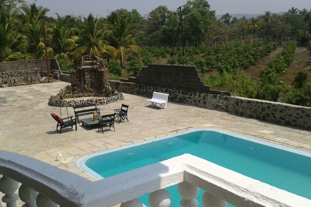 Pool view from terrace of villa