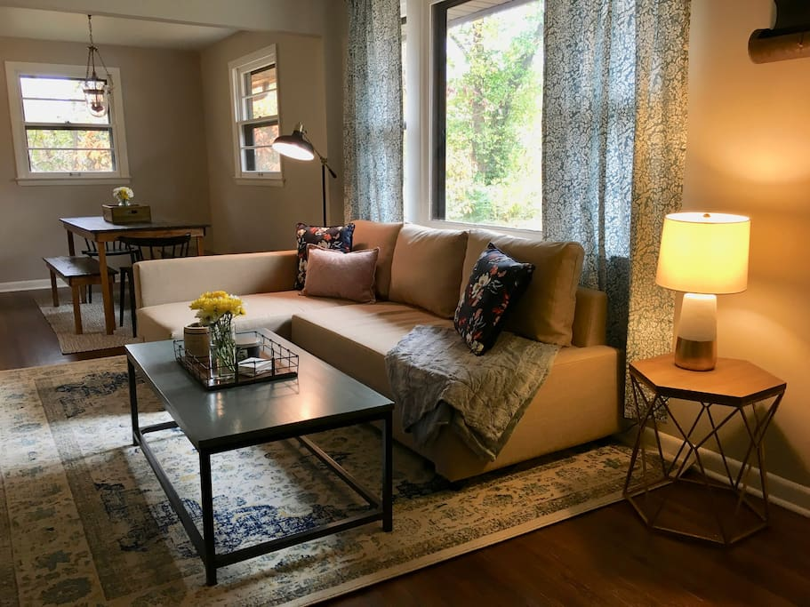 Come and relax in our cozy living room! The sofa pulls out for extra guests!