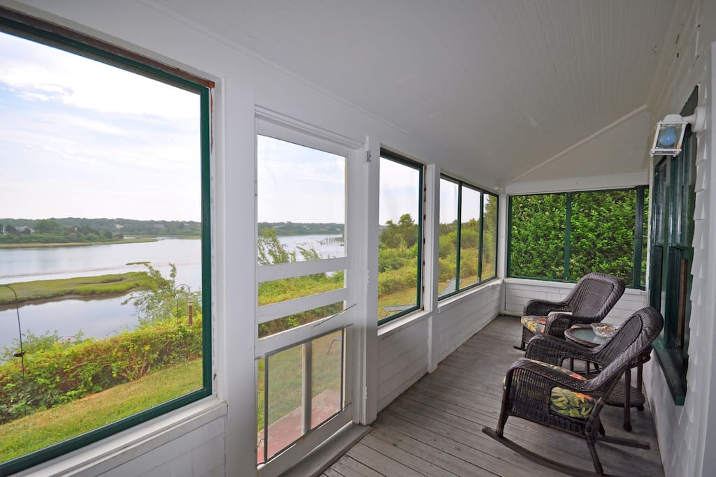 Gooch Cottage:  U-shape porch with wonderful views of the town cove and distant ocean
