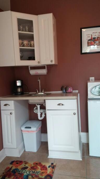 Microwave, refrigerator, sink.