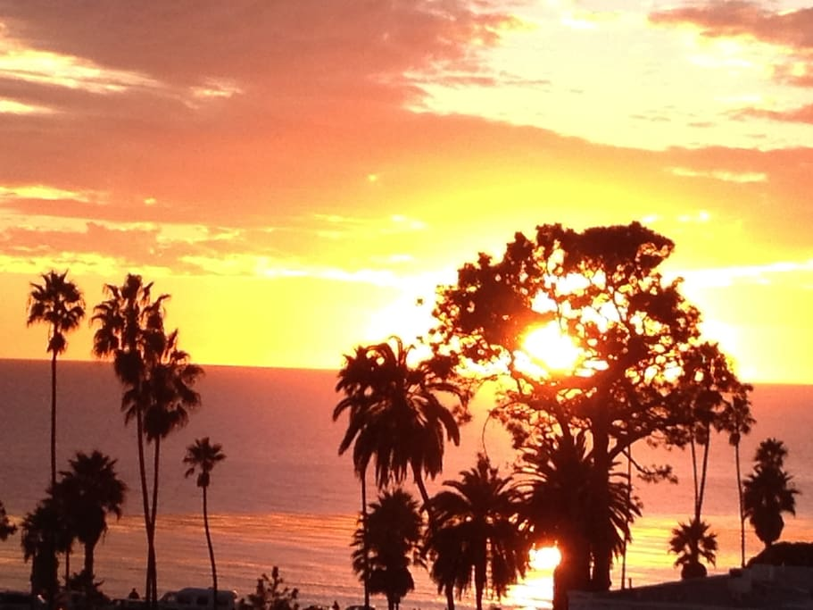 Sunset above Swami's Self Realization Center, 5 minute walk