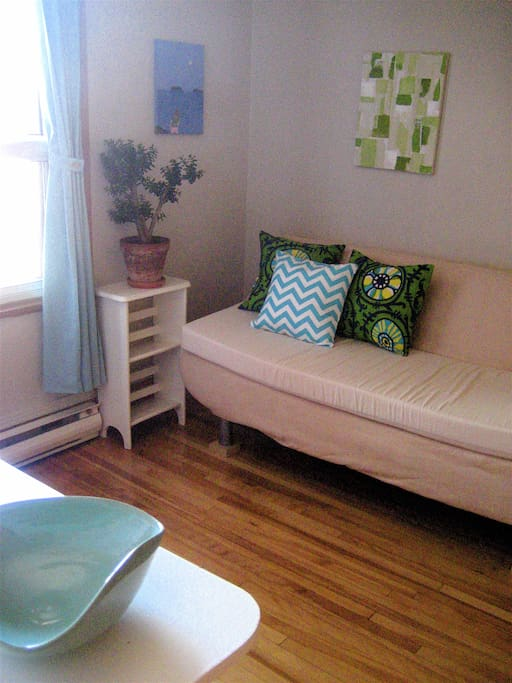 East-facing guest room. (May 1st, the futon couch will be replaced with an IKEA double bed with spring mattress.)