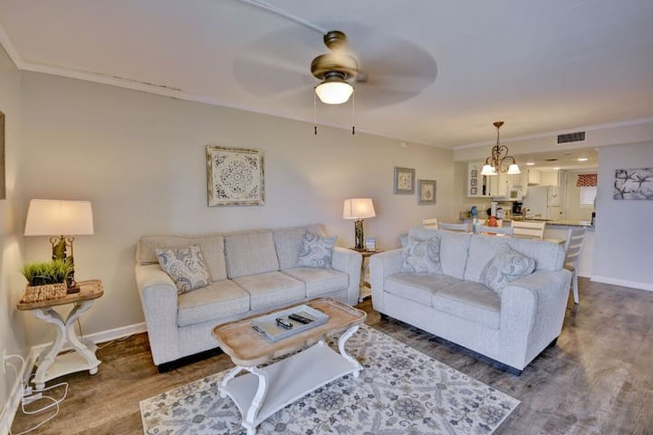 Gorgeous beachfront condo with casual costal decor, recently updated. Must See!