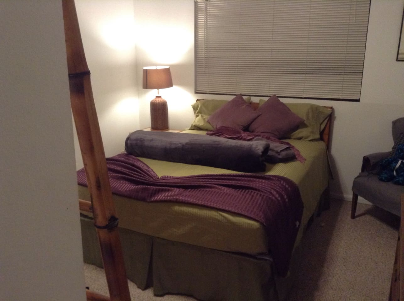 Cozy airy comfortable master suite with private ensuite bathroom with tub and shower