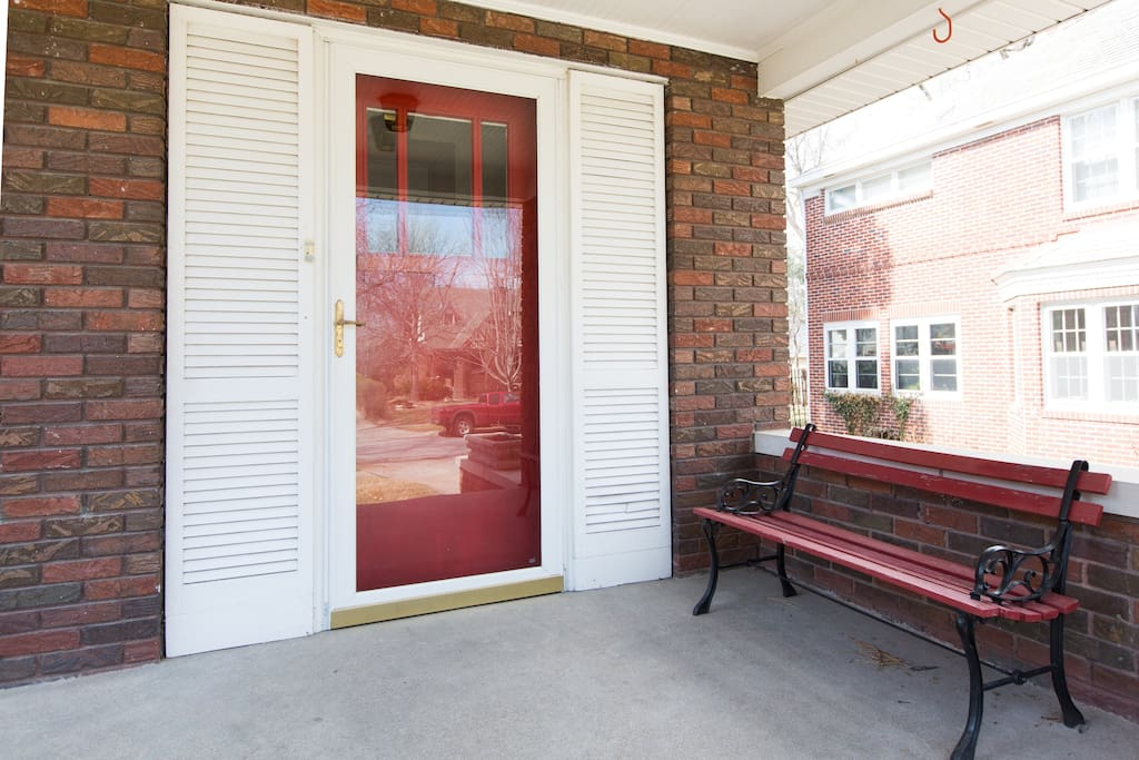 Porch entrance with bench
