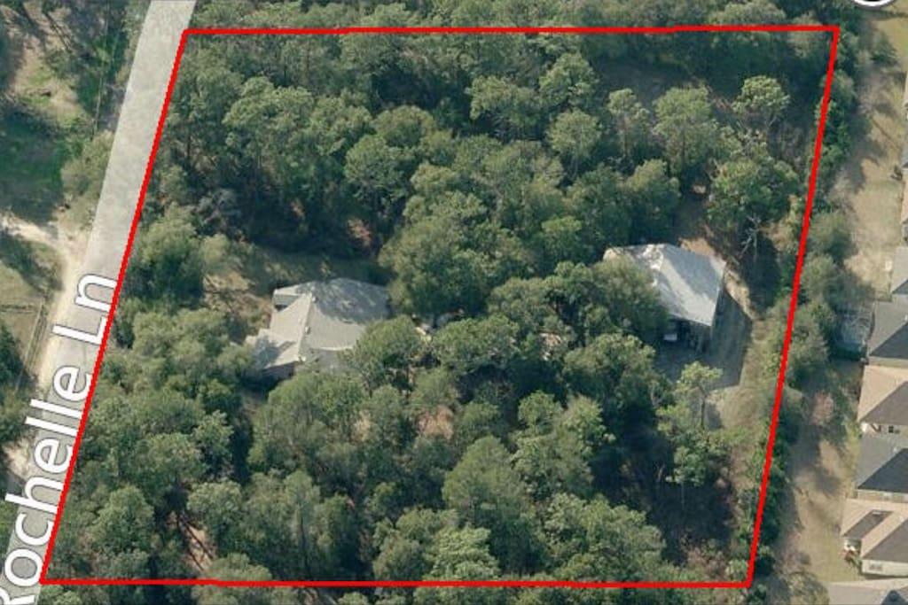 Aerial wooded view of Rancho Occiano