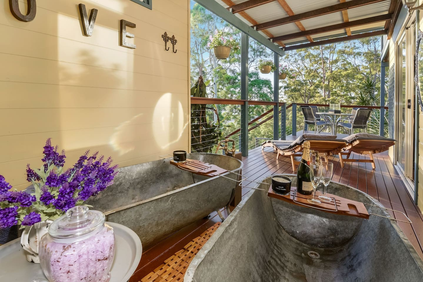 Relax on your private deck in these amazing antique outdoor baths with free bath crystals bubble bath and music.