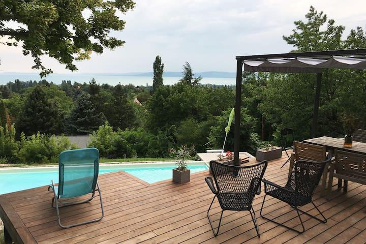 Balatonakarattya Home with a View and a Pool