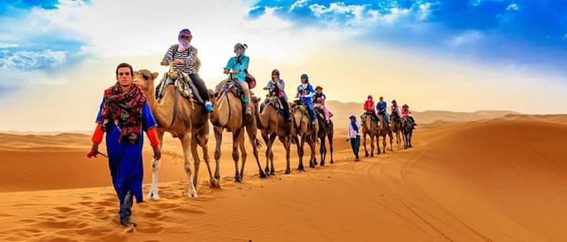Berber house / camel trek. Two single beds