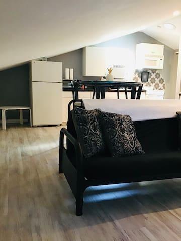 Futon in living room area