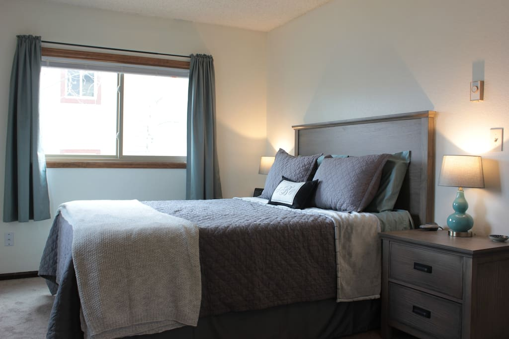 A queen sized memory foam mattress in the master bedroom includes a heated mattress pad.